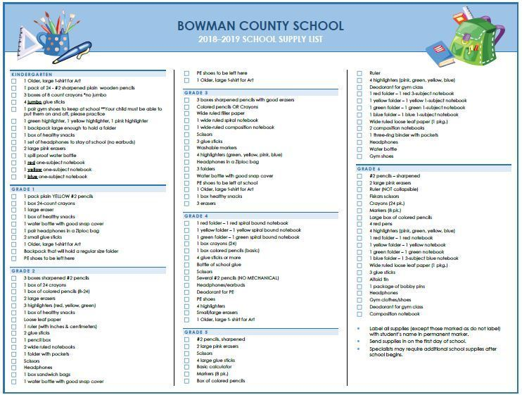 2018-2019 Classroom Supply Lists