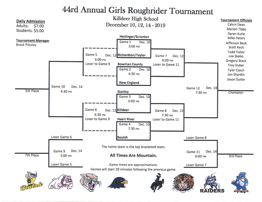 Girls Roughrider Bracket