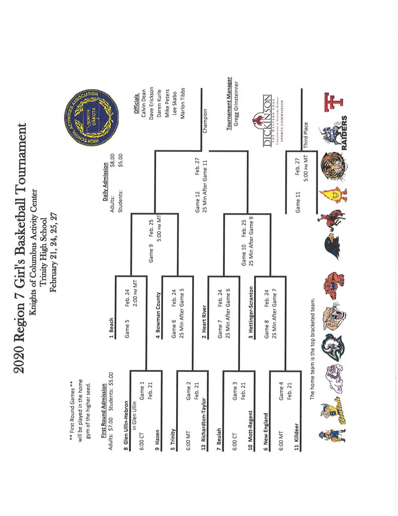 2020 Region 7 GBB Brackets